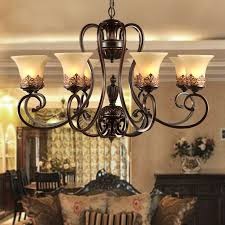 cheap rustic lighting. Antique Black Wrought Iron Chandelier Rustic Arts \u0026 Crafts Bronze  Chandelier With 8 Lights Cream Shade Cheap Lighting