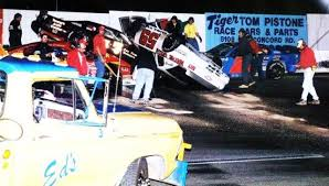 Miami-area driver Wesley Mills on his roof following a mix-up at Concord  (NC) Big 10 race...