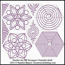 Digital Quilting Design Block Set Hexagon Clematis Quilt by ... & Digital Quilting Design Block Set Hexagon Clematis Quilt by Natalia Majors. Adamdwight.com