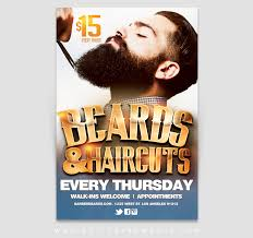barber flyer barber beard haircut promotion flyer template active ink media