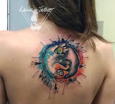 Tetování Watercolor Rats In Yin Yang Tattoo Tetování Tattoo