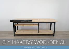 ben uyeda of homemade modern designed and built this split top workbench with a removable steel