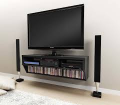 black wooden wall mounted TV cabinet with media storage .... ; wide ...