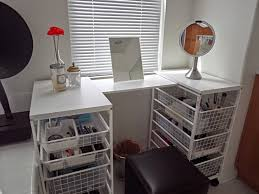 diy vanity table ideas. simple and cool white diy vanity table with pull out wire drawer makeup organizers ideas