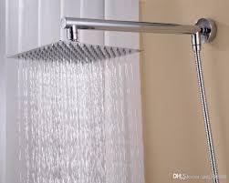 Regendusche Set Für Badezimmer Wandmontierter Messingarm Quadratischer 8 Duschkopf Aus Edelstahl 150 Cm Brauseschlauch