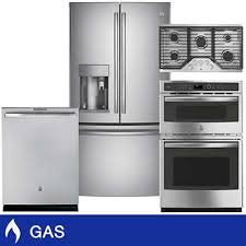 C GE Profile GAS 222CuFt CounterDepth Kitchen Package With Combination Wall  Oven And Cooktop