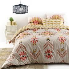 eyota tribal geometric print cotton duvet cover sand mustard orange la redoute interieurs la redoute