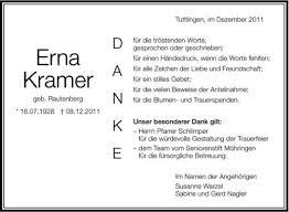 Traueranzeige von Erna Kramer   schwaebische.de Trauerportal