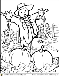 Small Picture Scarecrow in the Pumpkin Patch Coloring Page Worksheet Village