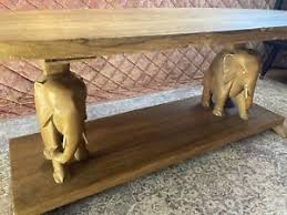 The wood pieces are délignées dégauchies then planed. Vtg Designer Hand Carved Wood Elephant Coffee Table Ebay