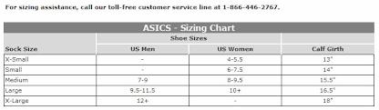 Asics Women S Socks Size Chart Asics Running Socks Size Chart