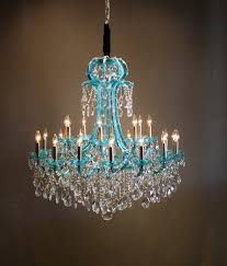 turquoise two tone crystal chandelier