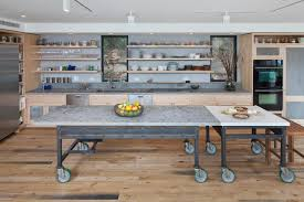 contemporary kitchen with open shelves industrial island