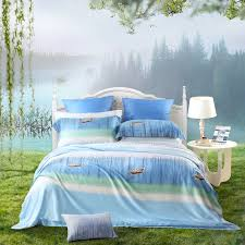 pastel blue white yellow and lime green nautical stripe and boat print ombre ocean seaside full queen size bedding sets