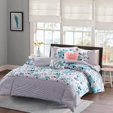 intelligent design tiffany 5 piece blue full queen fl comforter set