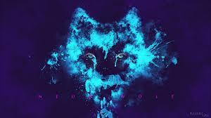 Red Blue Neon Wolf Wallpaper - Novocom.top