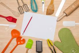 colorful kitchen utensils. Colorful Kitchen Utensils With Blank Paper And Pencil On Wooden Background Stock Photo - 48133743