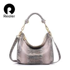 REALER women <b>genuine leather shoulder bag</b> serpentine pattern ...