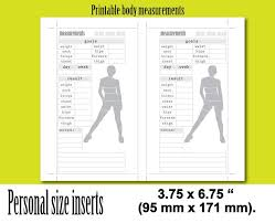 Weight Loss Measurement Tracker Weight Loss Tracker Personal Size Planner Inserts Body Measurements Weight Loss Measurement Journal Measurement Tracker Instant Download