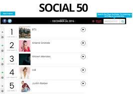 Bts Billboard Chart Bts Continue To Impress On The Billboard Social 50 Chart