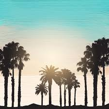 silhouette of palm trees on an acrylic paint background free vector