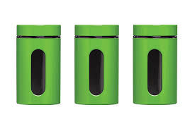 Kitchen Storage Canisters Premier Housewares Storage Canisters Green Set Of 3 Amazonco