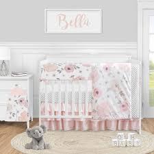 grey baby girls crib bedding set