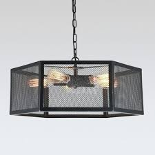 black cage chandelier industrial pendant chandelier 5 light with hexagon mesh cage in black black metal black cage chandelier