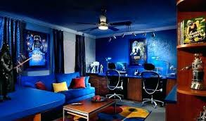 Game room design ideas masculine game Amazing Game Room Design Ideas Gaming Blue Is The Coolest Color Source Small Decorating Game Motoneigistes Game Room Design Ideas Masculine Small Starwebco