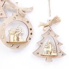 4PCS <b>Christmas Star Wooden Pendants</b> Ornaments Xmas Tree ...