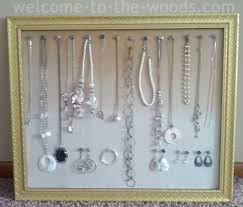 hanging wall jewelry organizer gold