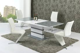 small extending 6 gloss grey glass dining table chairs centerpiece set