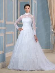 vintage high neck lace long sleeves sweep train wedding dress