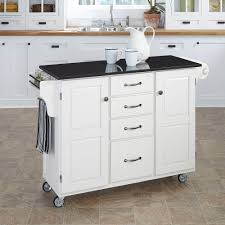 White Kitchen Island With Granite Top Home Styles Create A Cart White Kitchen Cart With Black Granite