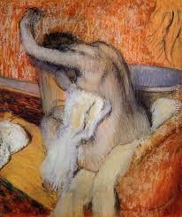 edgar degas after the bath woman drying herself
