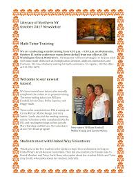 Literacy of Northern NY October 2017 Newsletter Math Tutor Training Welcome  to our newest tutors! Students meet with United