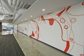 office wall design. Interior Long Alleyway Of Office Which Is Installed On Glossy Floor And Decorated With Wall Design I