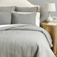 Audree Pom Pom Quilt - Gray | Ballard Designs & Audree Pom Pom Quilt Adamdwight.com