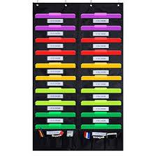 Godery Door Hanging File Organizer Folder Pocket Chart 20 Pocket 6 Tool Pocket Cascading Wall Organizer Perfect For Home Organizer School Pocket