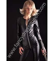 black faux leather catsuit