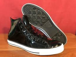 converse chuck taylor patent leather black high tops size 11 5 men
