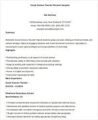 Printable Social Science Teacher Resume Sample
