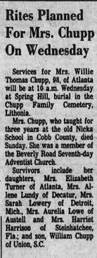 Obituary for Willie Thomas Chupp (Aged 98) - Newspapers.com
