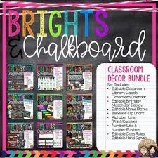 Chalkboard Brights Classroom Rules Chart Brights Chalkboard Classroom Decor Bundle