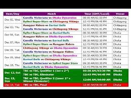Bpl Bangladesh Premier League 2015 Schedule Time Table