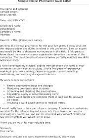 Resume Cover Letter Examples Pharmacist Pharmacist Cover Letter