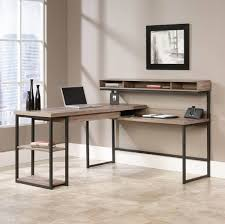 Amazing Modern Wooden Computer Desk With Metal Legs And Floating Hutch