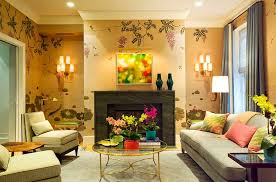 furnitures beautiful living room with grey sofa and round glass gold coffee table also fireplace