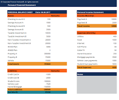 personnal financial statement personal financial statement template download free excel template