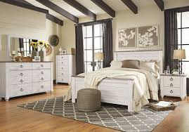 whitewashed bedroom furniture. Ashley Furniture Willowton Panel Bedroom Set In Whitewash Whitewashed S